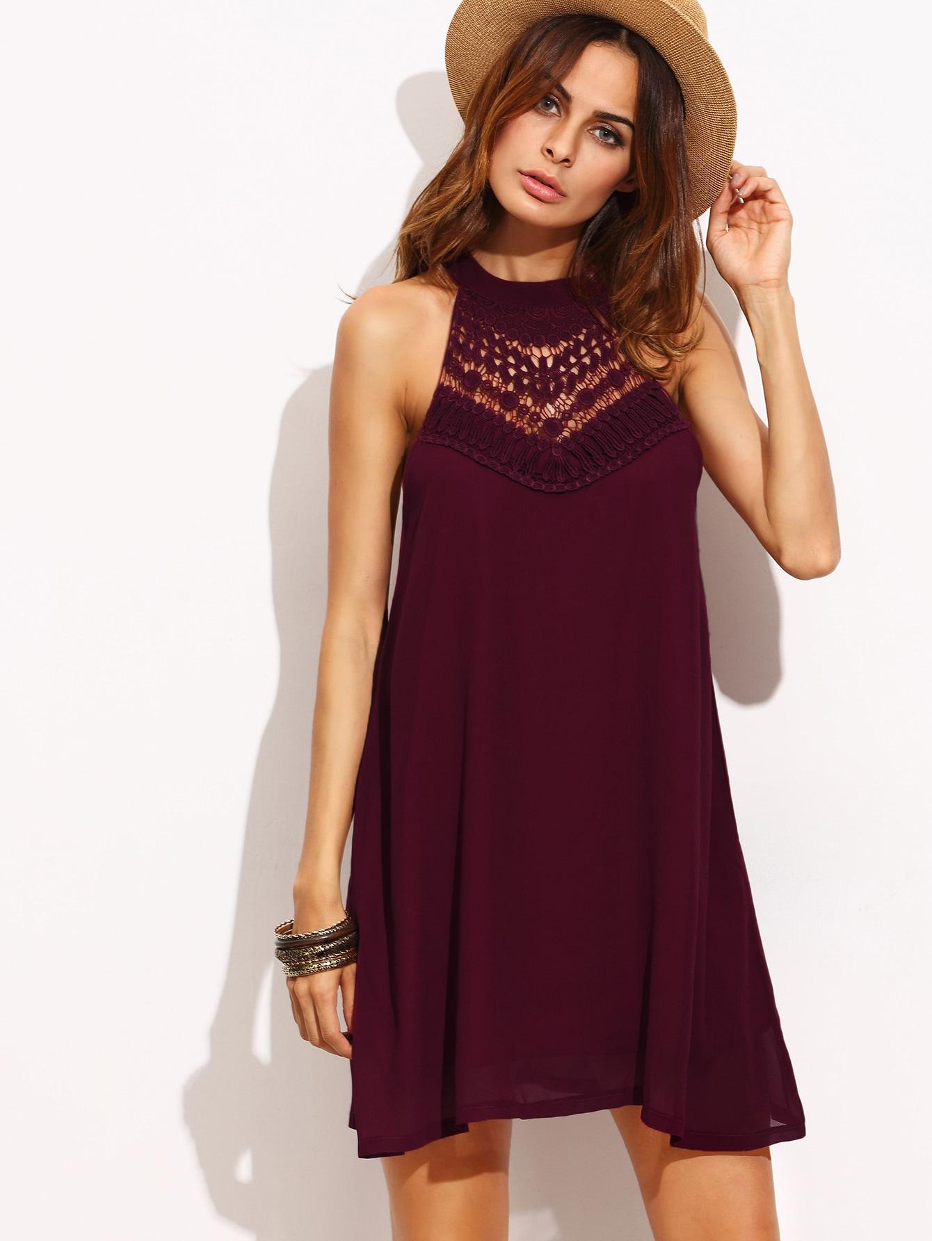 Crochet Insert Keyhole Halter Swing Dress crochet openwork swing dress