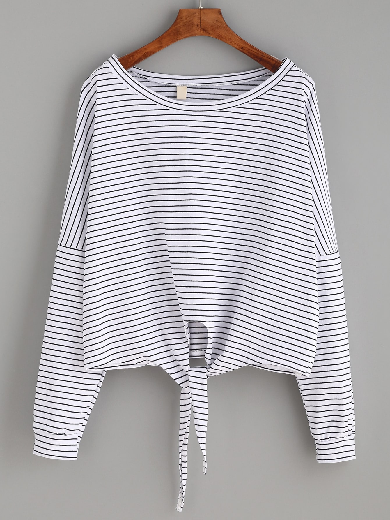 Striped tie front dropped shoulder tee shein sheinside for Striped shirt with tie