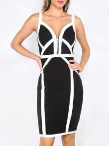 Black and White Spaghetti Strap Sheath Bandage Dress