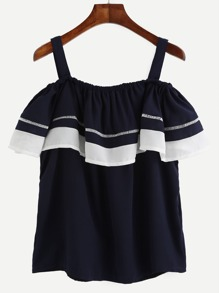 Navy Contrast Trim Ruffle Cold Shoulder Top