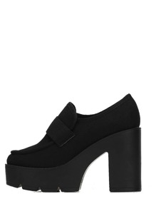 Black Round Toe Chunky Pumps