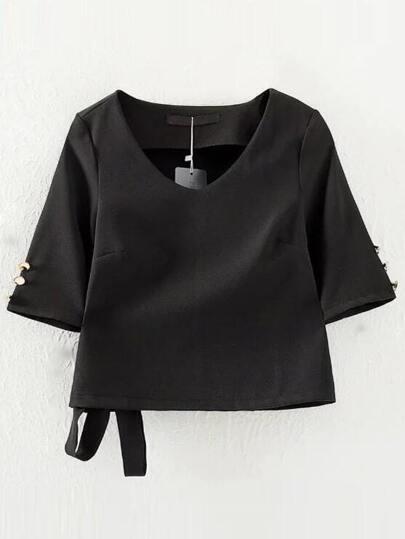 Black V Neck Tie Buttons Blouse
