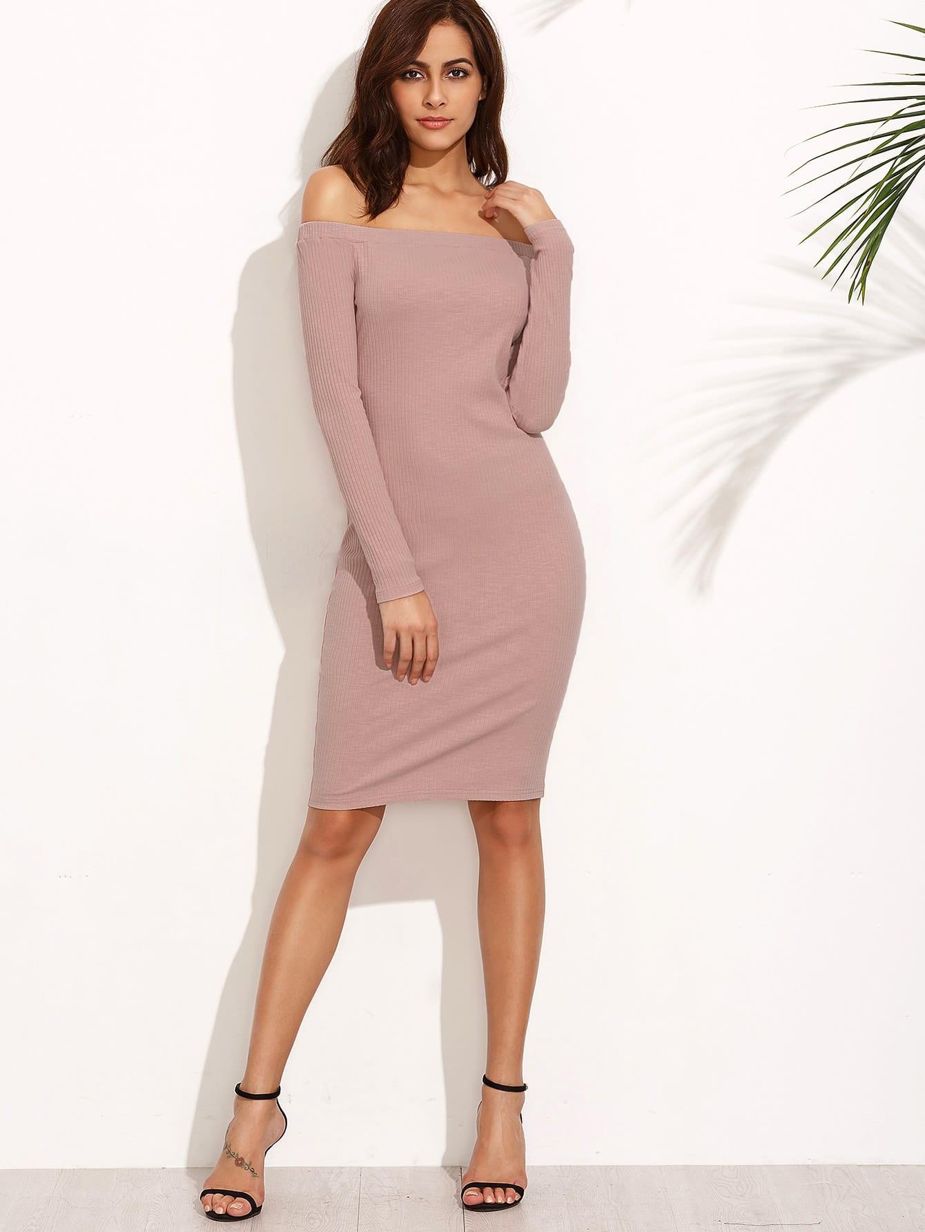 Bardot Ribbed Pencil Dress dress160727712
