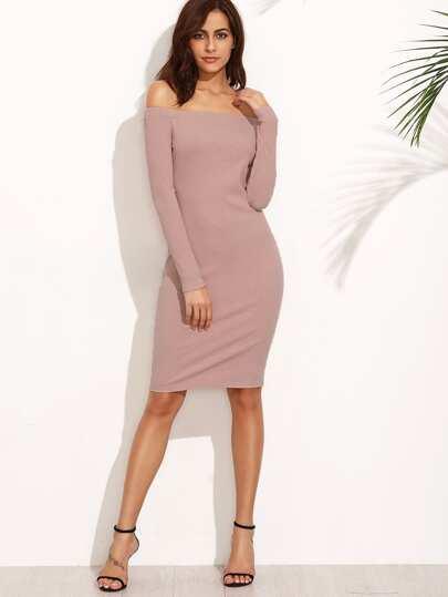 Bardot Ribbed Pencil Dress