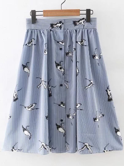 Blue And White Single Breasted Birds Printed Skirt