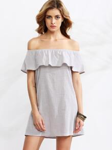 Grey Off The Shoulder Ruffle Dress