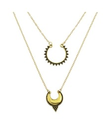 Gold Double Layers Long Pendant Necklace
