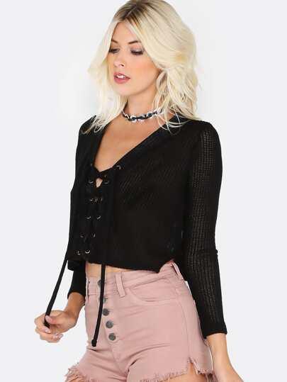 Lace Up Knit Crop Sweater BLACK