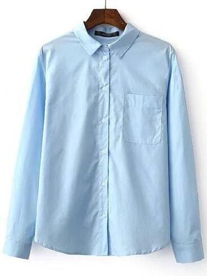 Blue Lapel Pocket Plain Blouse