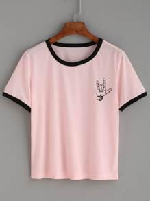 T-Shirt mit Druck und kontrastfarbigem Saum - rosa