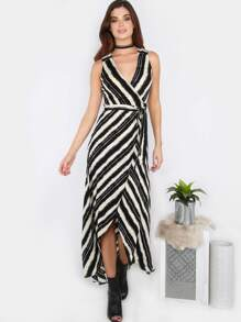 Stripe Cut Out Wrap Dress BLACK