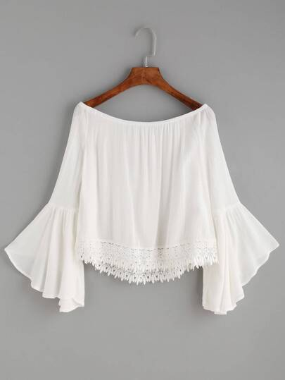 Lace Trim Trumpet Sleeve Bardot Top