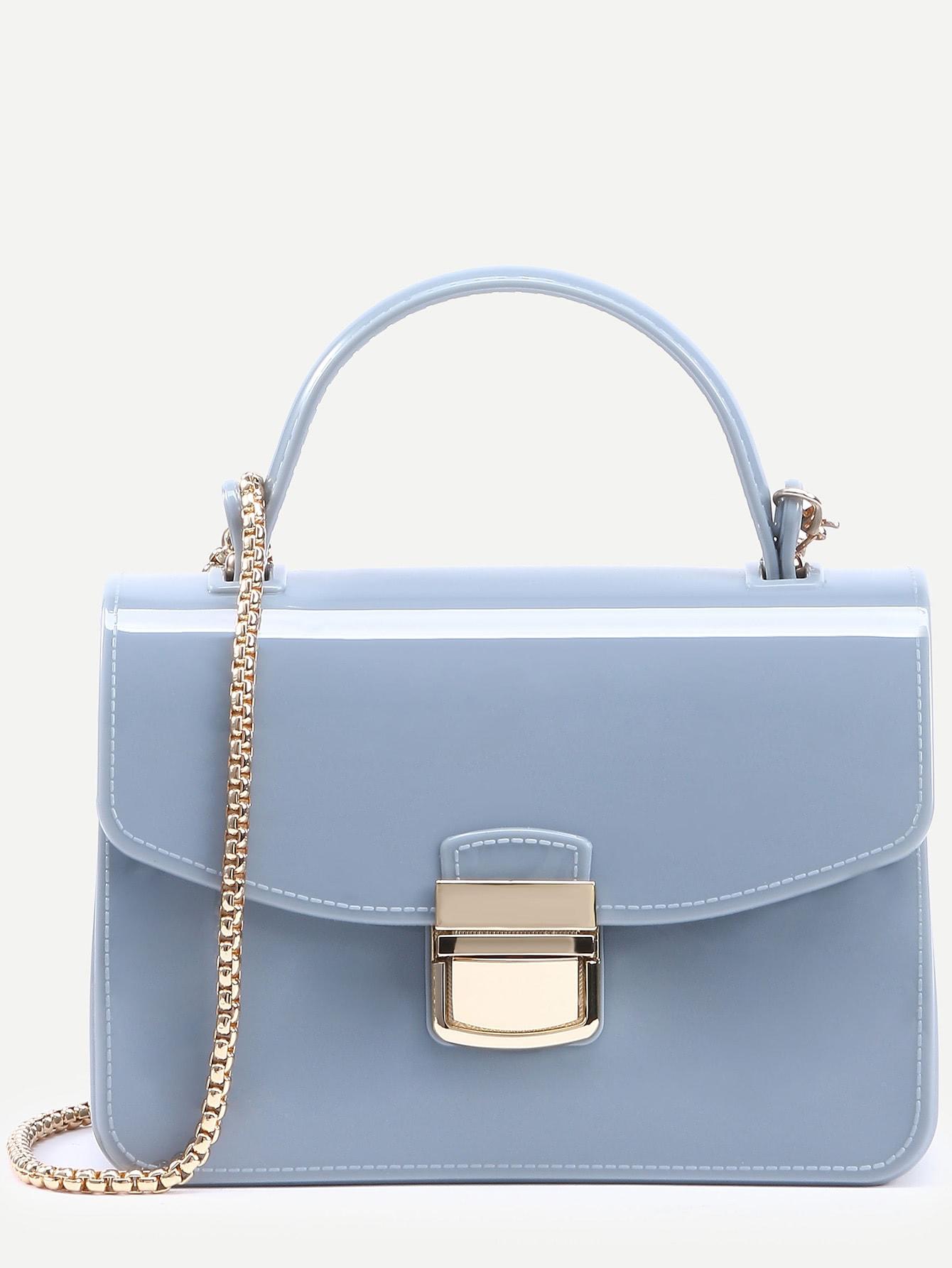 Baby Blue Pushlock Flap Handbag With Chain