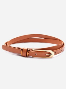 Camel Buckled Skinny Wrap Belt