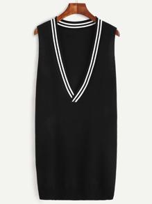 Black Striped V Neck Knit Dress