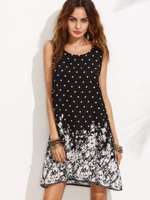 Polka Dot and Floral Print Sleeveless Shift Dress