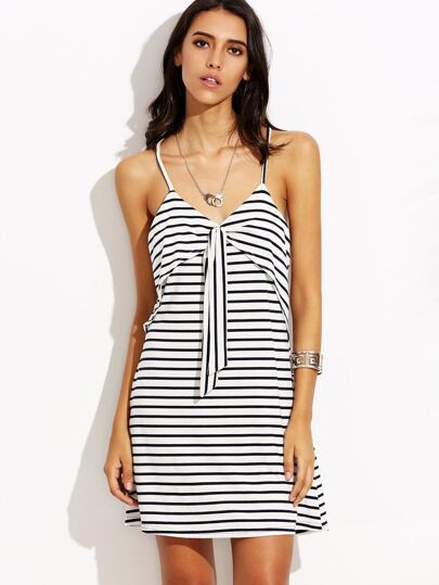 Black White Striped Layered Front Cami Dress