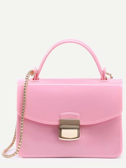 Pink Pushlock Closure Plastic Handbag With Chain