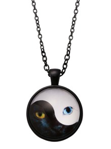Black White Cat Eyes Print Round Glass Necklace