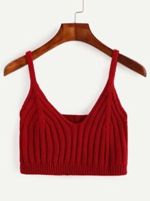 Red Ribbed Knit Crop Cami Top