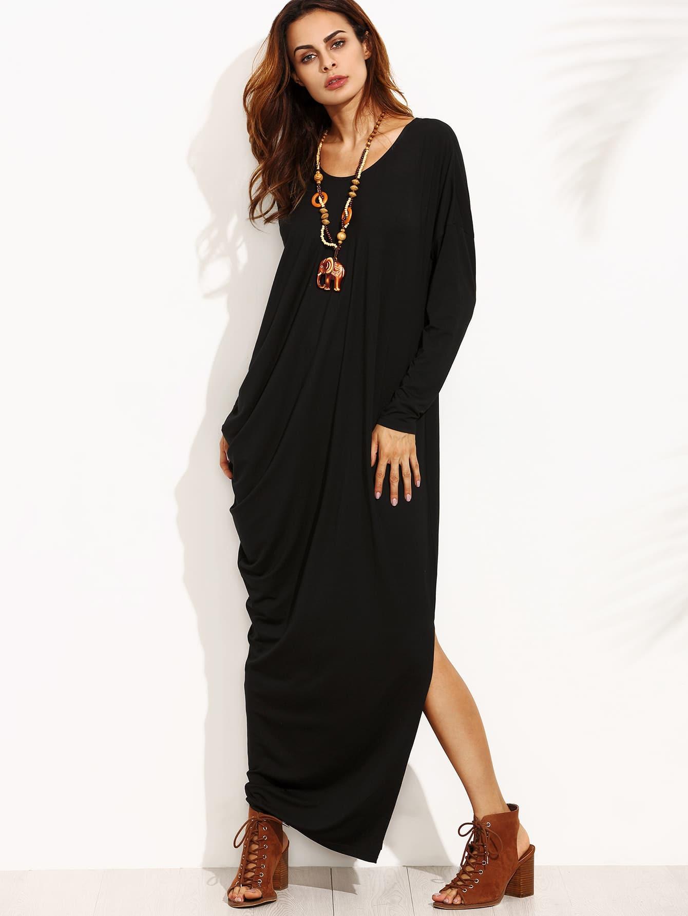 Black Split Side Long Sleeve Asymmetrical Maxi Dress dress160729708