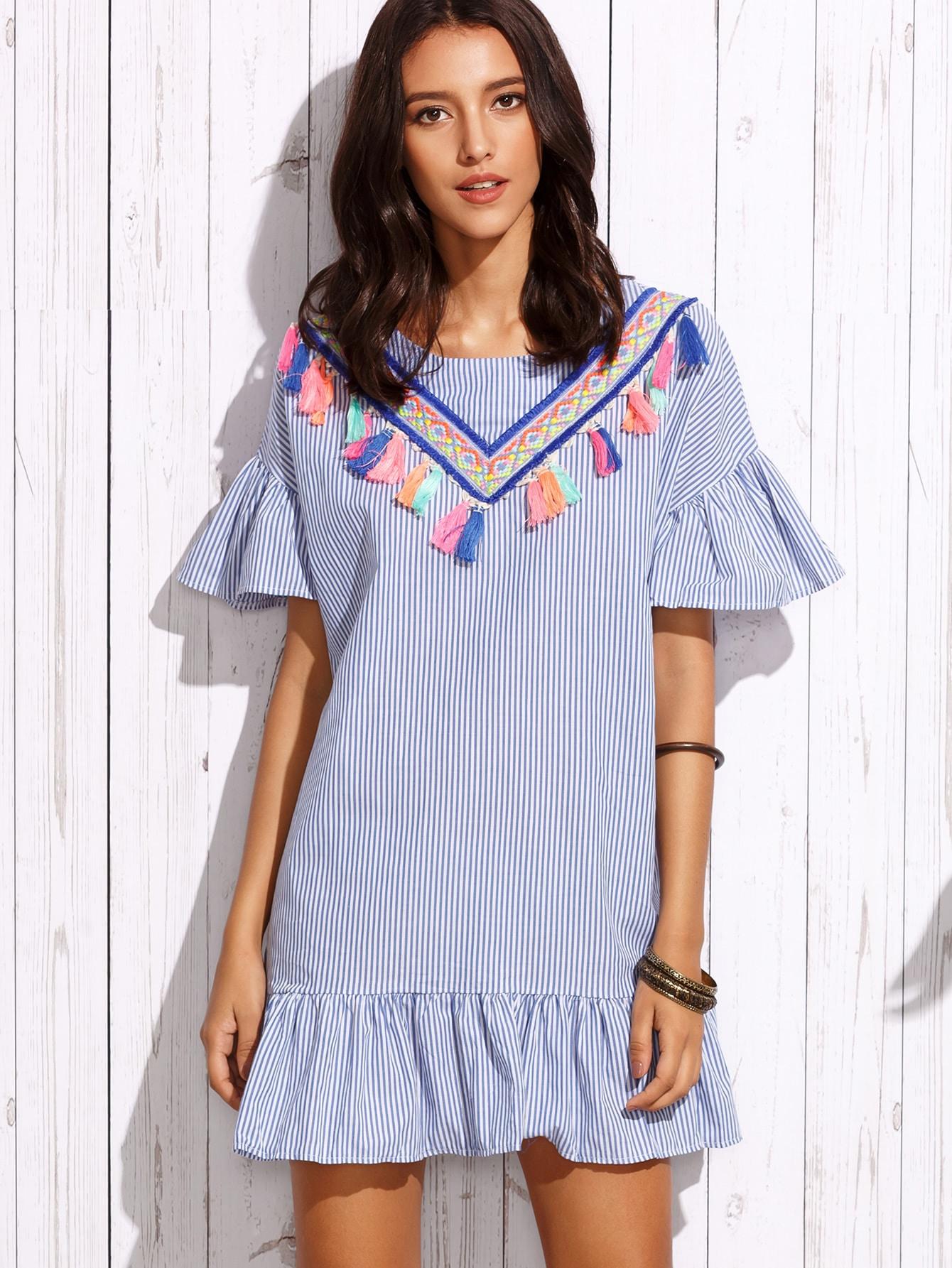 Фото Vertical Striped Frill Embroidered Tape Detail Dress. Купить с доставкой