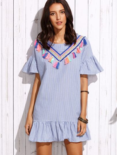 Vertical Striped Frill Embroidered Tape Detail Dress