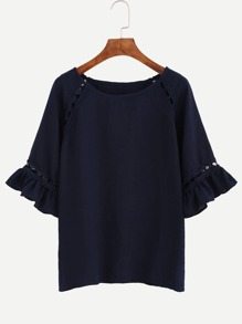 Navy Hollow Out Ruffle Sleeve Top