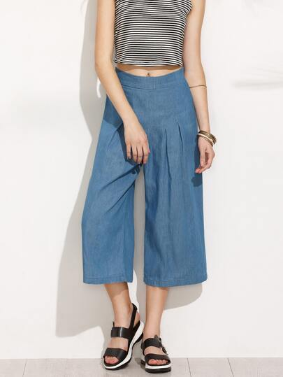 Blue Pleated Wide Leg Pants