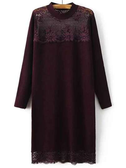 Burgundy Band Collar Lace Long Sweater