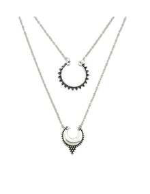 Silver Double Layers Long Pendant Necklace
