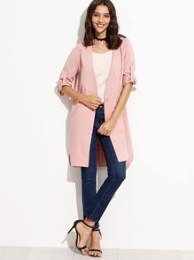 Pink V Neck Single Button Coat