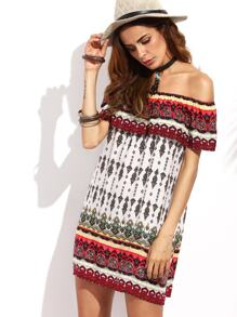Tribal Print Ruffle Off The Shoulder Shift Dress