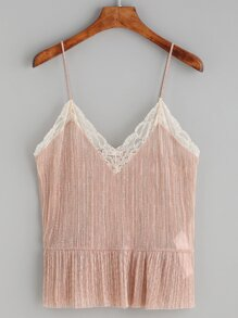 Pink Lace Trim Peplum Cami Top