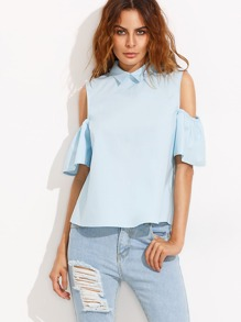 Peter Pan Collar Ruffle Cold Shoulder Blouse