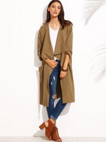 Khaki Lapel Pocket Rolled Up Sleeve Long Outerwear
