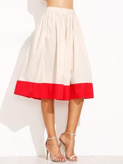 beige and elastic waist pleated skirt shein sheinside