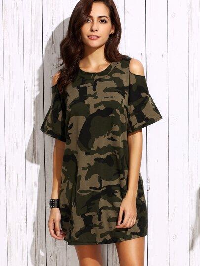 Open Shoulder Camo Tee Dress