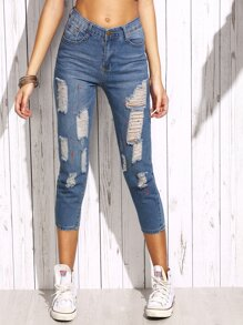 Blue Paint Splatter Print Ripped Jeans