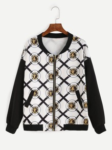 White Badge Print Contrast Sleeve Bomber Jacket