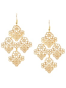 Gold Hollow Leaves Drop Earrings