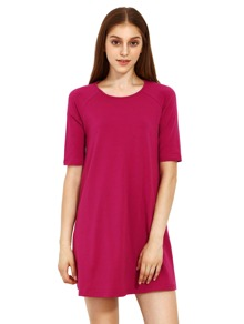 Red Round Neck Inch Half Sleeve Loose Dress