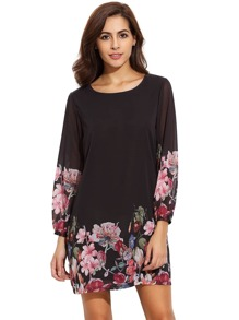 Black Lantern Sleeve Floral Shift Dress