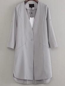 Grey V Neck Single Button Coat