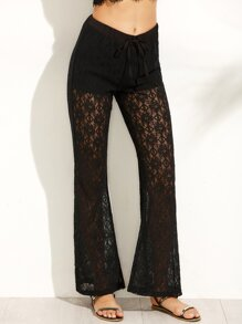Black Lace Tie Flare Long Pants