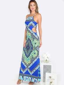 Printed Cut Out Maxi Dress ROYAL BLUE