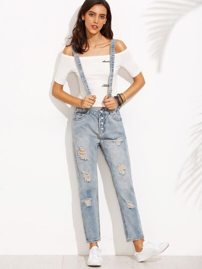Blue Button Fly Ripped Bleach Wash Jeans With Strap