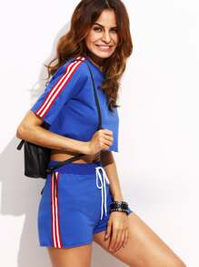 Royal Blue Short Sleeve Crop Top with Tie Shorts