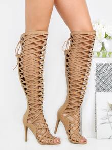 Thigh High Cut Out Heels KHAKI