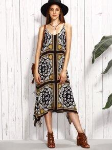 Multicolor Flowers Print Spaghetti Strap Midi Dress